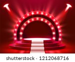 abstract round podium with... | Shutterstock .eps vector #1212068716