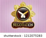 gold badge with crossed...   Shutterstock .eps vector #1212075283