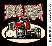 cartoon retro semi truck...   Shutterstock .eps vector #1212075730