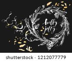 hand drawn chalk christmas and... | Shutterstock .eps vector #1212077779