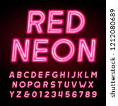 red neon tube alphabet font....   Shutterstock .eps vector #1212080689