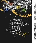 hand drawn chalk christmas and... | Shutterstock .eps vector #1212080953