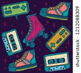 color vector set of retro style ... | Shutterstock .eps vector #1212088309