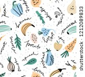 hand drawn pattern with... | Shutterstock .eps vector #1212089833