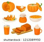 pumpkin dishes set  pie  jam... | Shutterstock .eps vector #1212089950
