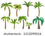 flat vector set of palm trees....   Shutterstock .eps vector #1212090016