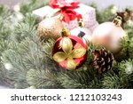 christmas card with fir and... | Shutterstock . vector #1212103243