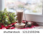 glass cup of tasty with cocoa... | Shutterstock . vector #1212103246