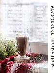 glass cup of tasty with cocoa... | Shutterstock . vector #1212103249