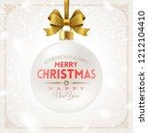 hanging white christmas bauble... | Shutterstock .eps vector #1212104410