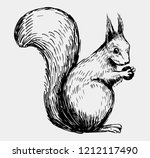 squirrel sketch. hand drawn... | Shutterstock .eps vector #1212117490