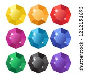 colorful cartoon diamonds icons ... | Shutterstock .eps vector #1212151693