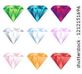 colorful cartoon diamonds icons ... | Shutterstock .eps vector #1212151696