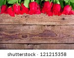 Red Roses On Wooden Board ...
