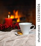 cup of hot drink with cookie...   Shutterstock . vector #1212158326