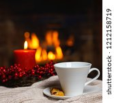 cup of hot drink with cookie... | Shutterstock . vector #1212158719