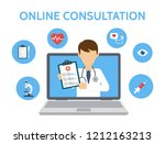 online medical consultation and ... | Shutterstock .eps vector #1212163213
