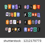 colorful newspaper word super... | Shutterstock .eps vector #1212170773