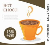 hot coco with small mug orange | Shutterstock .eps vector #1212173059