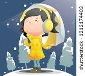 cute girl wearing yellow coat... | Shutterstock .eps vector #1212174403