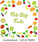 flat lay fruits pattern or... | Shutterstock .eps vector #1212178093