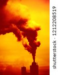 air pollution by smoke coming... | Shutterstock . vector #1212208519