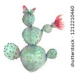 hand drawn watercolor cactus in ... | Shutterstock . vector #1212210460