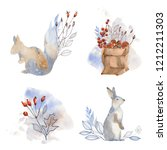 watercolor animal illustration. ... | Shutterstock . vector #1212211303