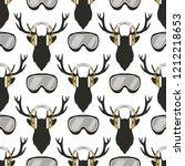 christmas deer pattern. funny... | Shutterstock .eps vector #1212218653