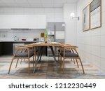 3d rendering  home kitchen and... | Shutterstock . vector #1212230449