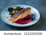sumac spiced salmon with... | Shutterstock . vector #1212235330