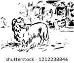a dog at a grass | Shutterstock . vector #1212238846