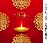 happy diwali festival card with ... | Shutterstock .eps vector #1212241870