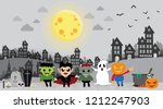 halloween kids in city at night ... | Shutterstock .eps vector #1212247903