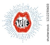 voting concept. woman's lips... | Shutterstock .eps vector #1212250603