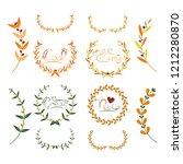 vector laurel autumn wreaths on ... | Shutterstock .eps vector #1212280870
