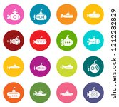 submarine icons set colorful... | Shutterstock . vector #1212282829
