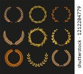 vector laurel autumn wreaths on ... | Shutterstock .eps vector #1212284779