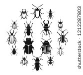 bugs icons set. simple... | Shutterstock . vector #1212287803