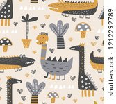 baby seamless pattern with cute ... | Shutterstock .eps vector #1212292789