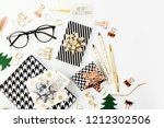 christmas winter decorations ... | Shutterstock . vector #1212302506