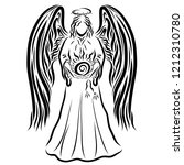 angel carrying the shining sun  ... | Shutterstock . vector #1212310780