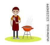 a man in a red apron is cooking ... | Shutterstock . vector #1212334099