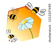 bees collecting nectar from a... | Shutterstock .eps vector #1212337690
