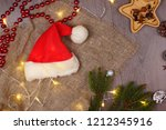 rustic christmas card with a... | Shutterstock . vector #1212345916