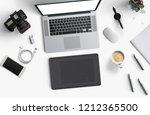 minimal work space   laptop ... | Shutterstock . vector #1212365500