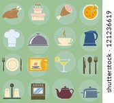 vector illustration of icons on ... | Shutterstock .eps vector #121236619