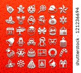 christmas icons - white set - stock vector