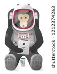 monkey  ape with tablet and... | Shutterstock .eps vector #1212374263