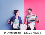 beautiful pregnant woman and... | Shutterstock . vector #1212375316
